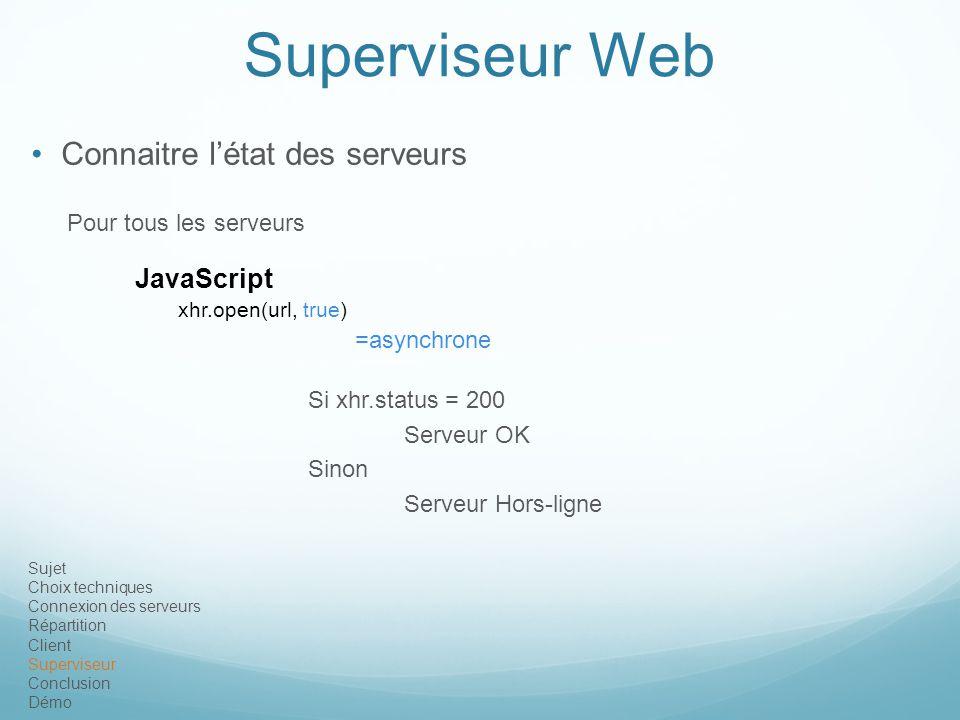 Superviseur Web Connaitre l'état des serveurs JavaScript