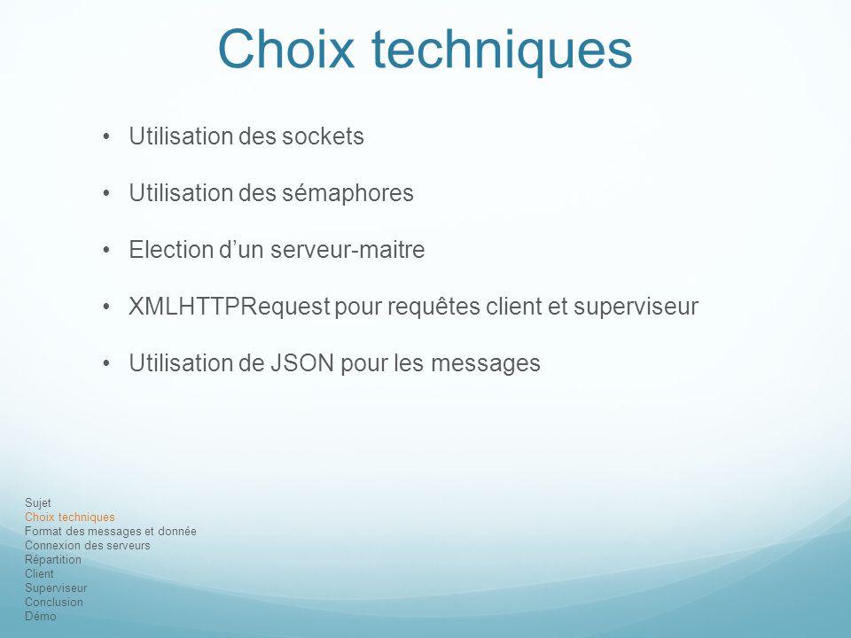 Choix techniques Utilisation des sockets Utilisation des sémaphores