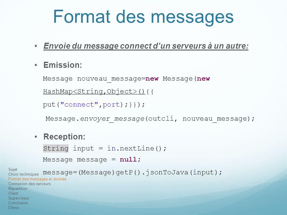 Format des messages Envoie du message connect d'un serveurs à un autre: Emission: