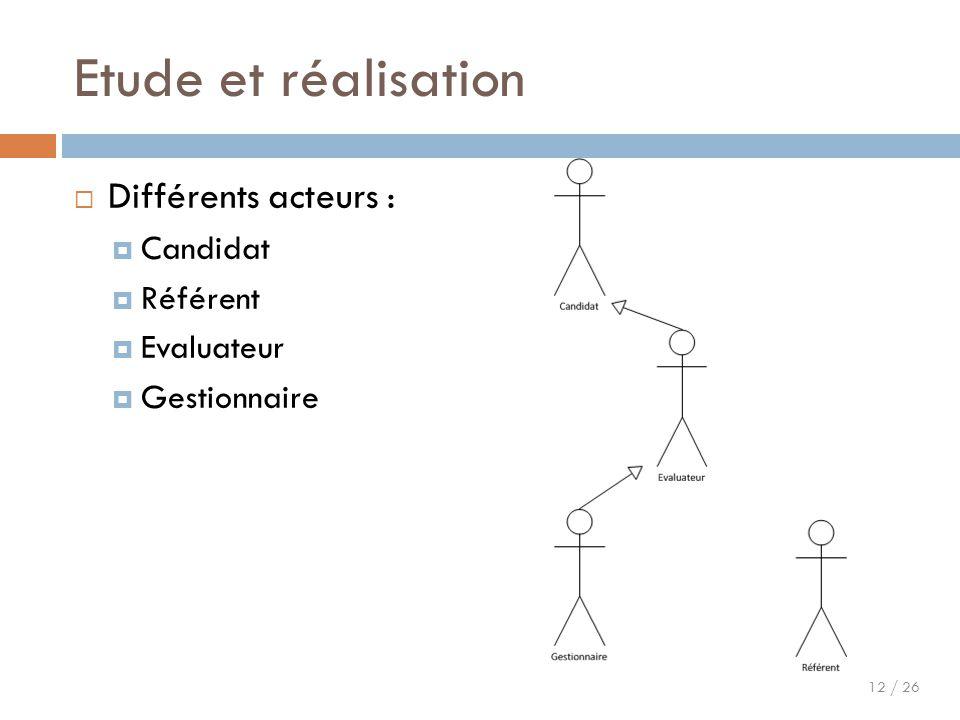 Etude et réalisation Différents acteurs : Candidat Référent Evaluateur
