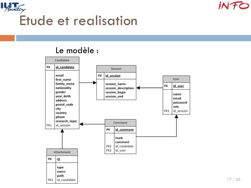 Etude et realisation Le modèle :