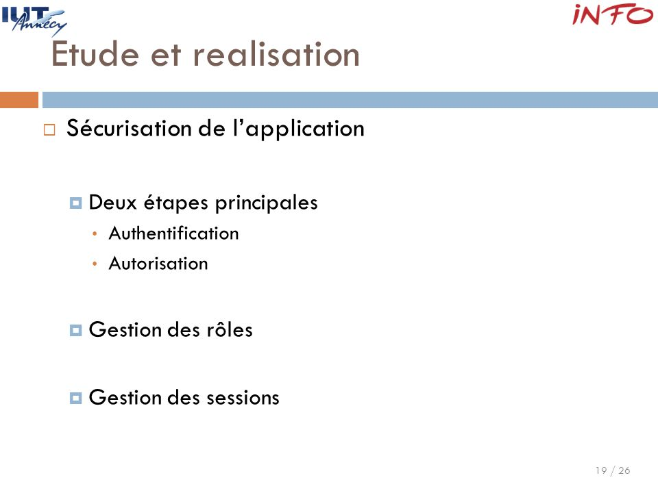 Etude et realisation Sécurisation de l'application