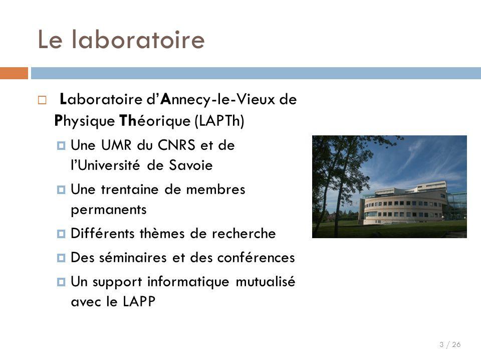 Le laboratoire Laboratoire d'Annecy-le-Vieux de Physique Théorique (LAPTh) Une UMR du CNRS et de l'Université de Savoie.