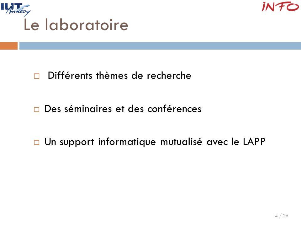 Le laboratoire Différents thèmes de recherche
