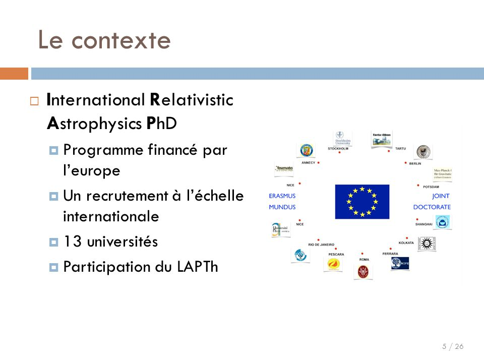Le contexte International Relativistic Astrophysics PhD