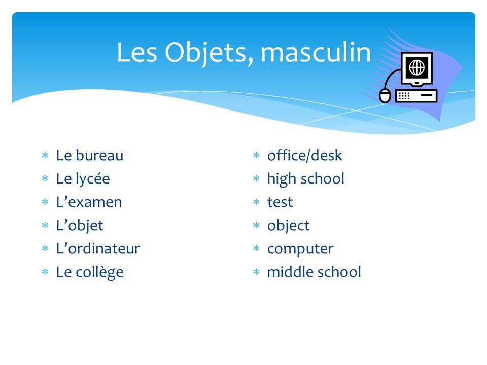 Les Objets, masculin Le bureau Le lycée L'examen L'objet L'ordinateur