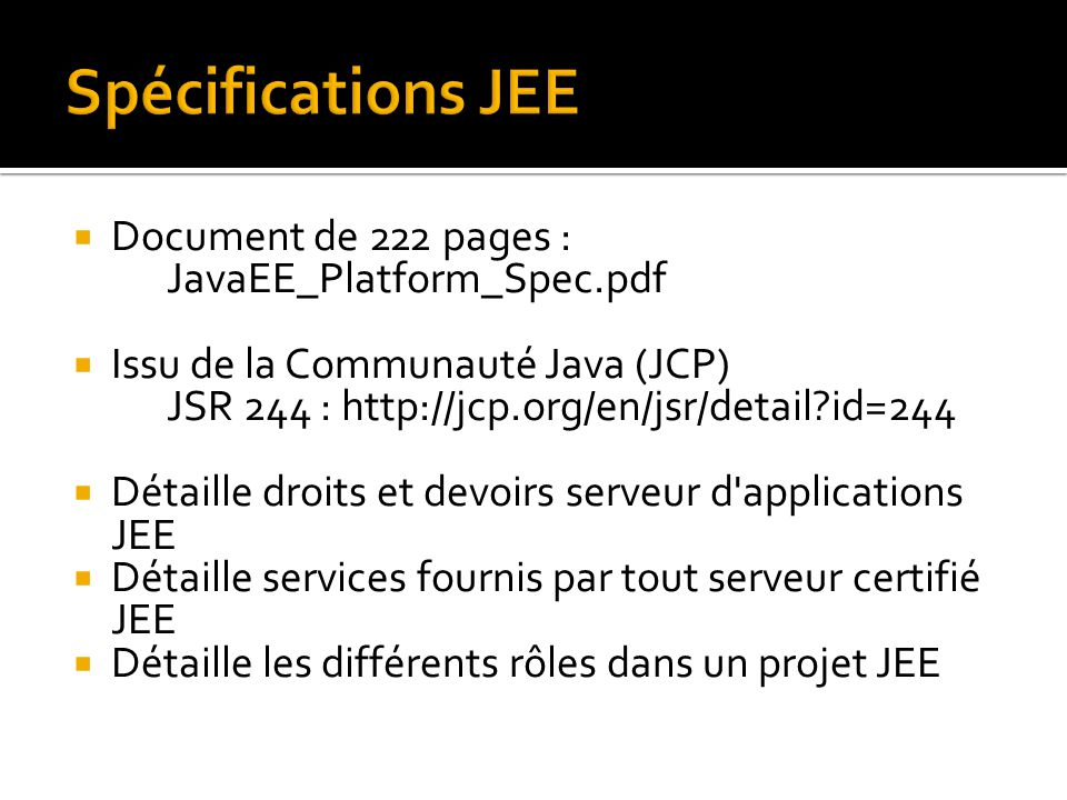 Spécifications JEE Document de 222 pages : JavaEE_Platform_Spec.pdf
