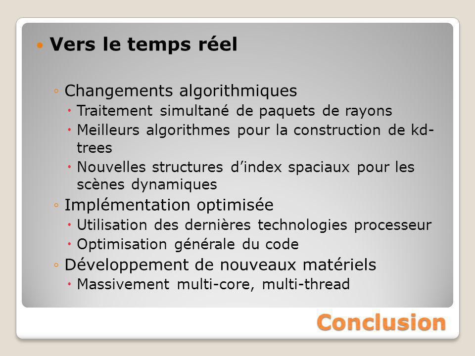 Conclusion Vers le temps réel Changements algorithmiques