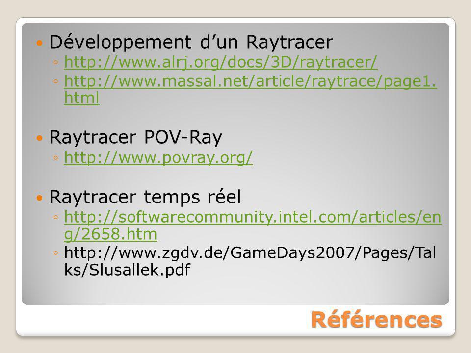 Références Développement d'un Raytracer Raytracer POV-Ray