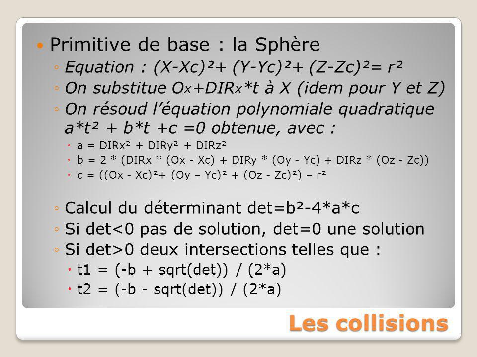 Les collisions Primitive de base : la Sphère