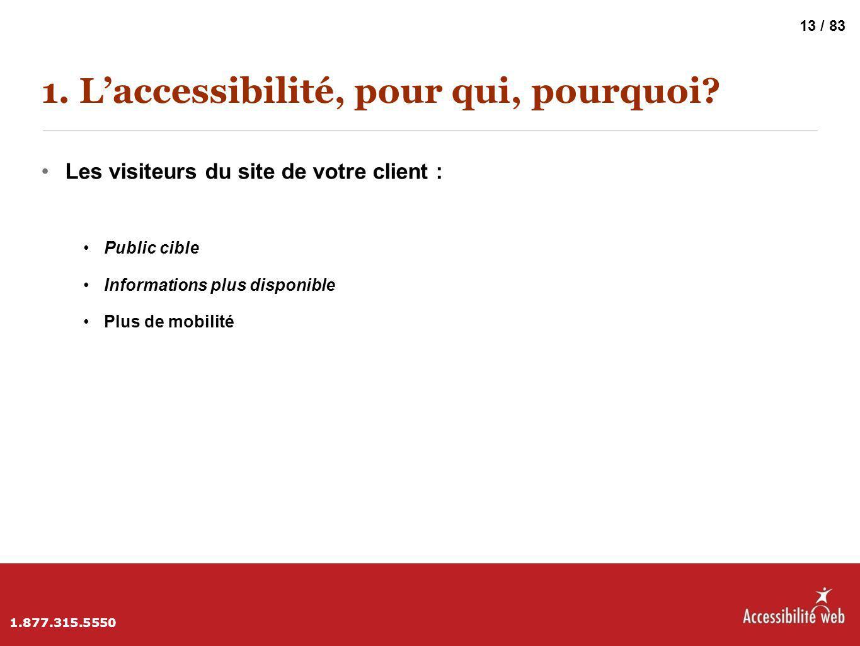 1. L'accessibilité, pour qui, pourquoi