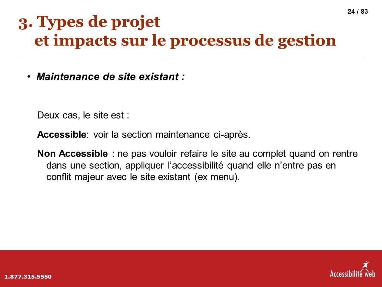 3. Types de projet et impacts sur le processus de gestion