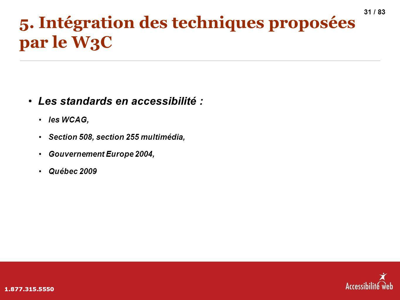 5. Intégration des techniques proposées par le W3C