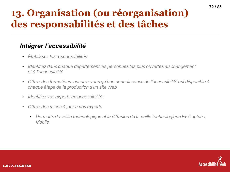 13. Organisation (ou réorganisation) des responsabilités et des tâches