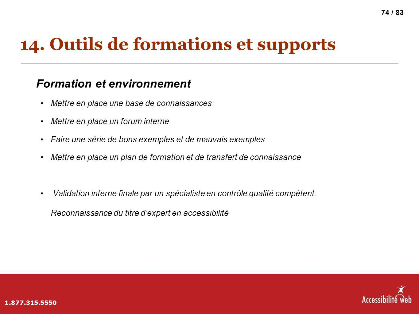 14. Outils de formations et supports