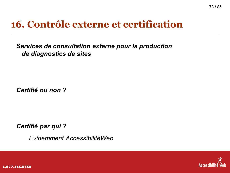 16. Contrôle externe et certification