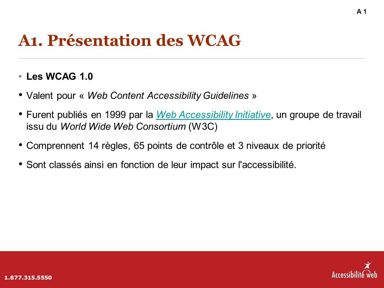 A1. Présentation des WCAG