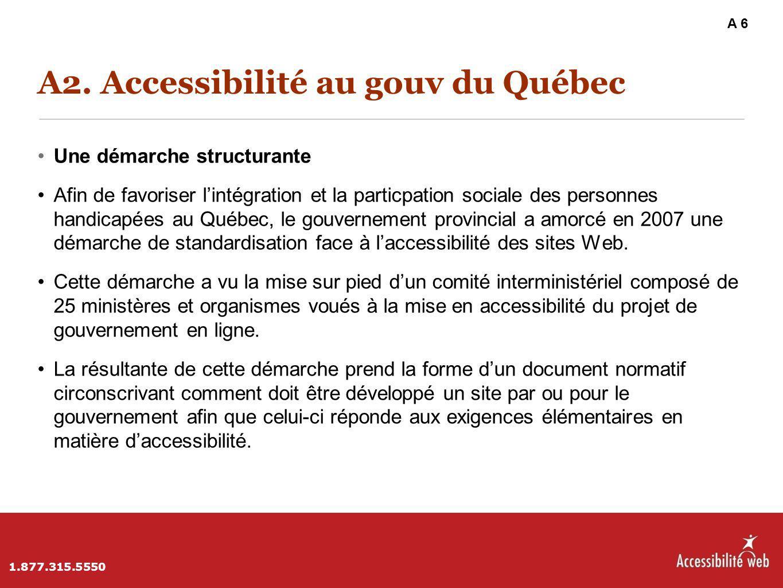 A2. Accessibilité au gouv du Québec