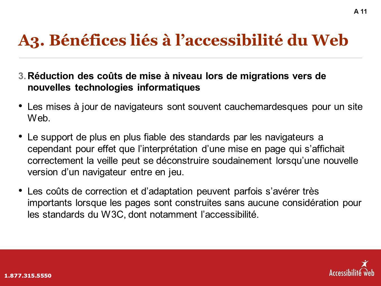 A3. Bénéfices liés à l'accessibilité du Web