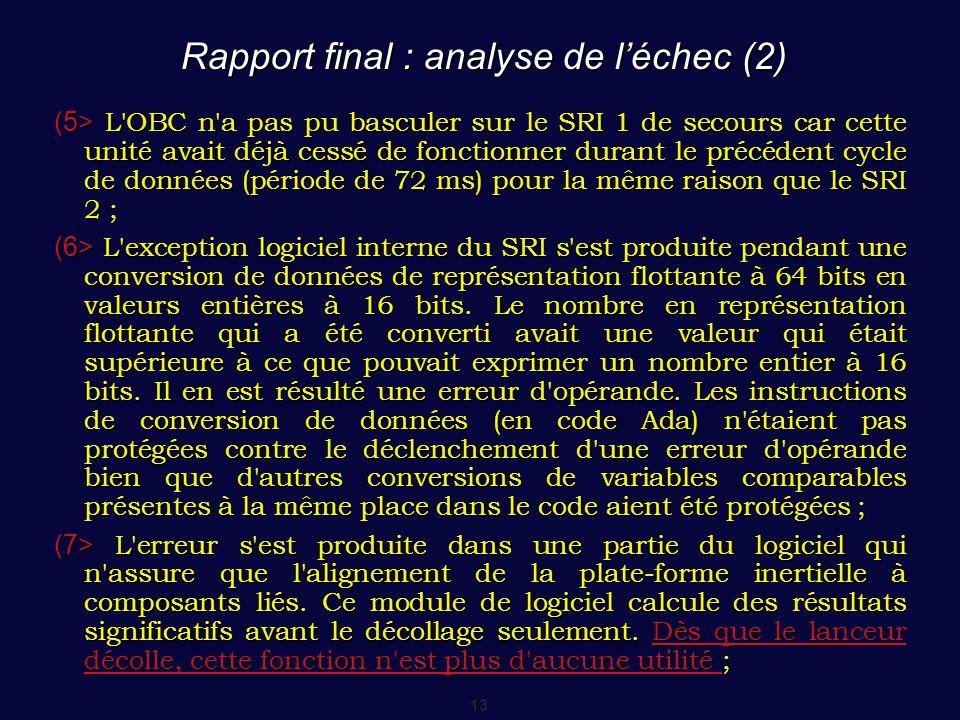 Rapport final : analyse de l'échec (2)