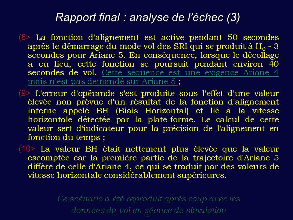 Rapport final : analyse de l'échec (3)