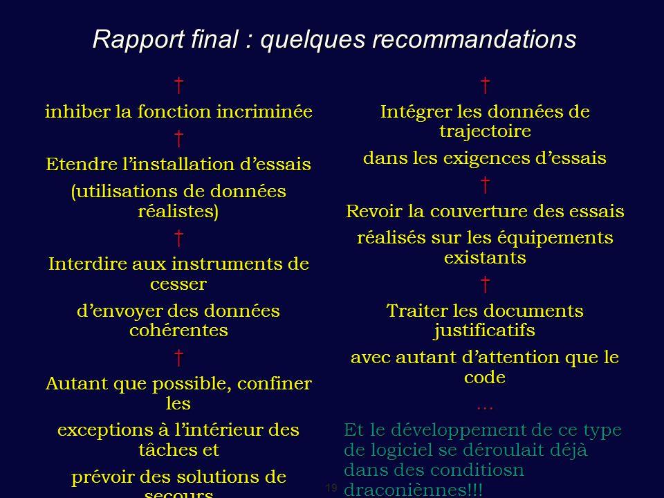 Rapport final : quelques recommandations