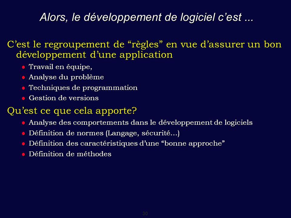 Alors, le développement de logiciel c'est ...
