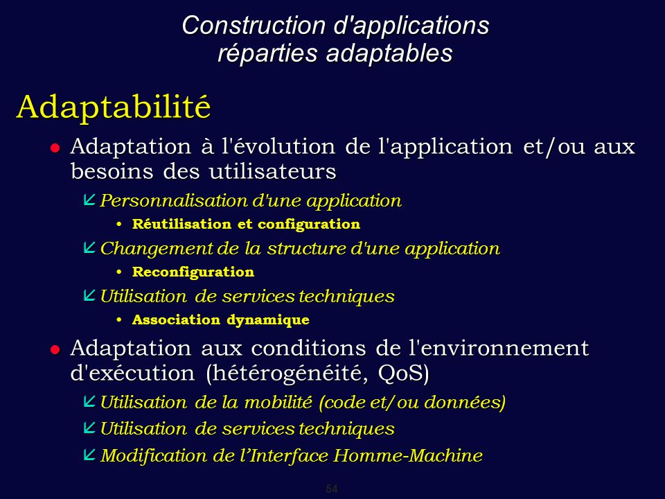 Construction d applications réparties adaptables