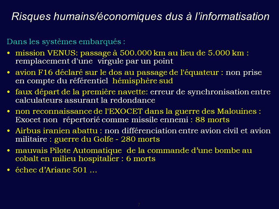 Risques humains/économiques dus à l'informatisation