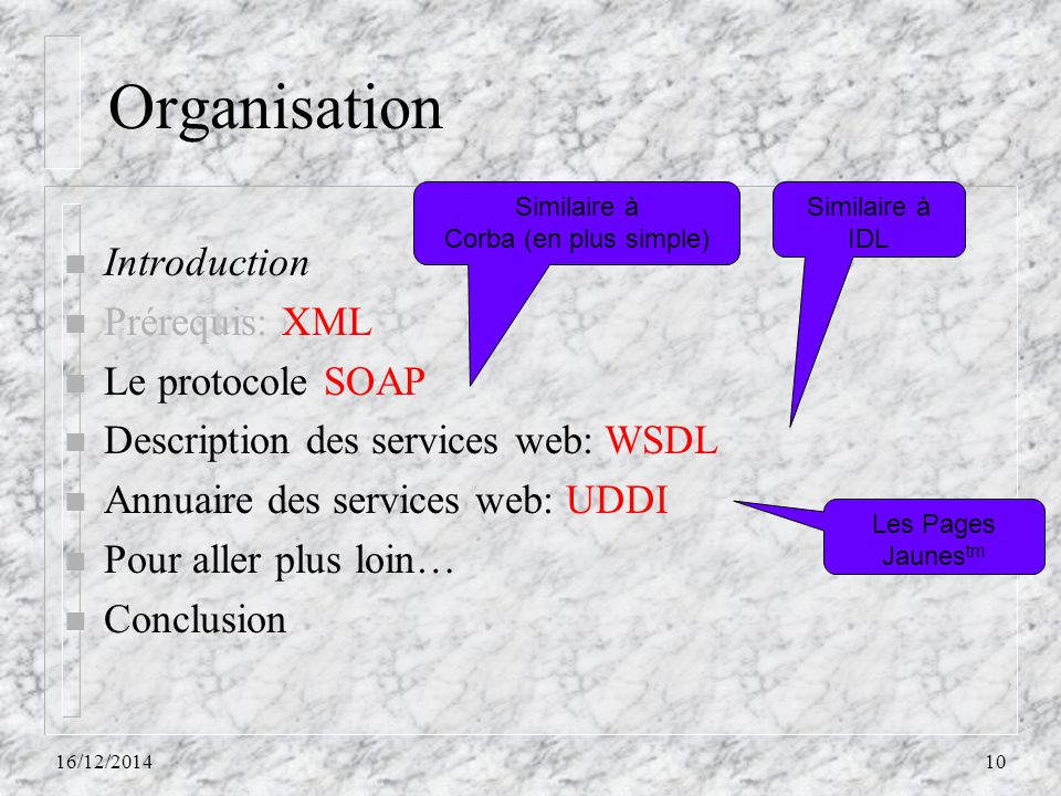 Organisation Introduction Prérequis: XML Le protocole SOAP