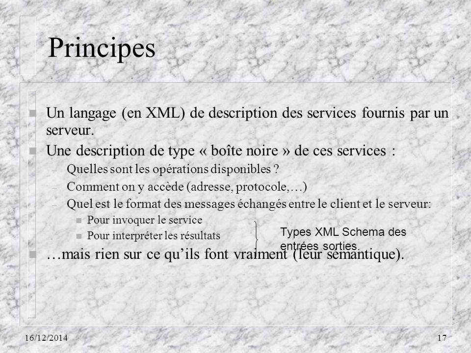 Principes Un langage (en XML) de description des services fournis par un serveur. Une description de type « boîte noire » de ces services :