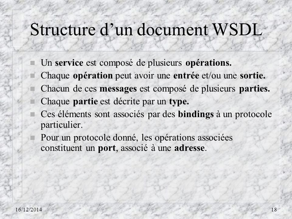 Structure d'un document WSDL