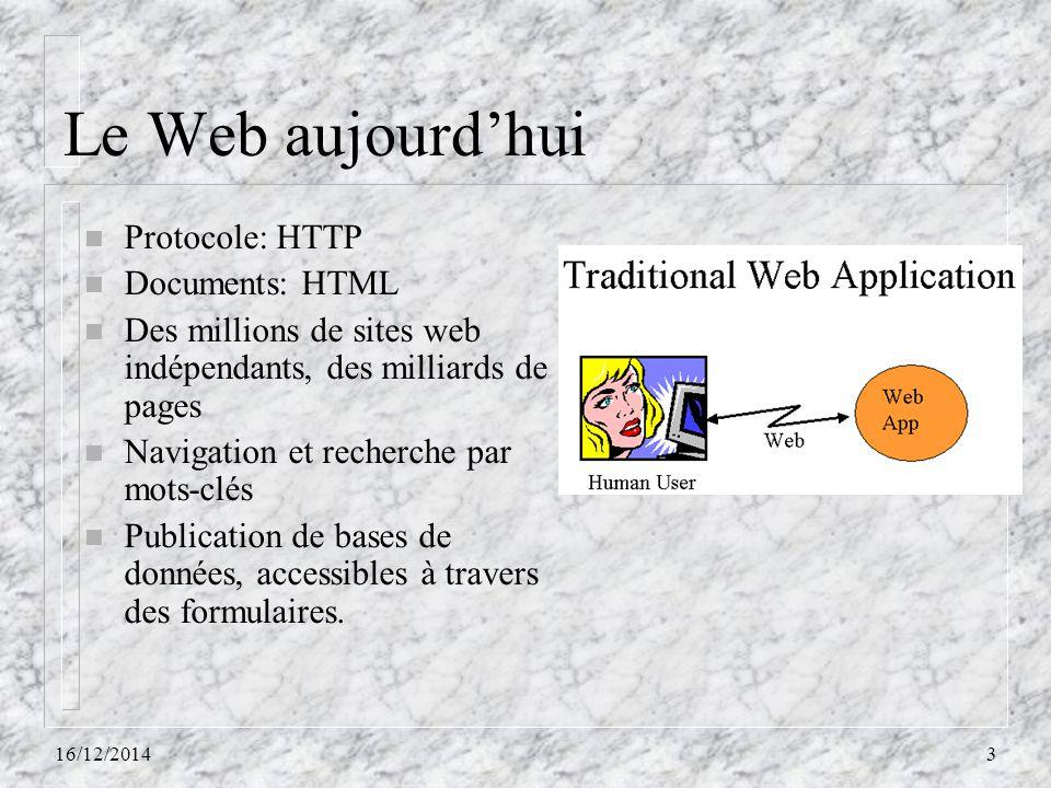 Le Web aujourd'hui Protocole: HTTP Documents: HTML
