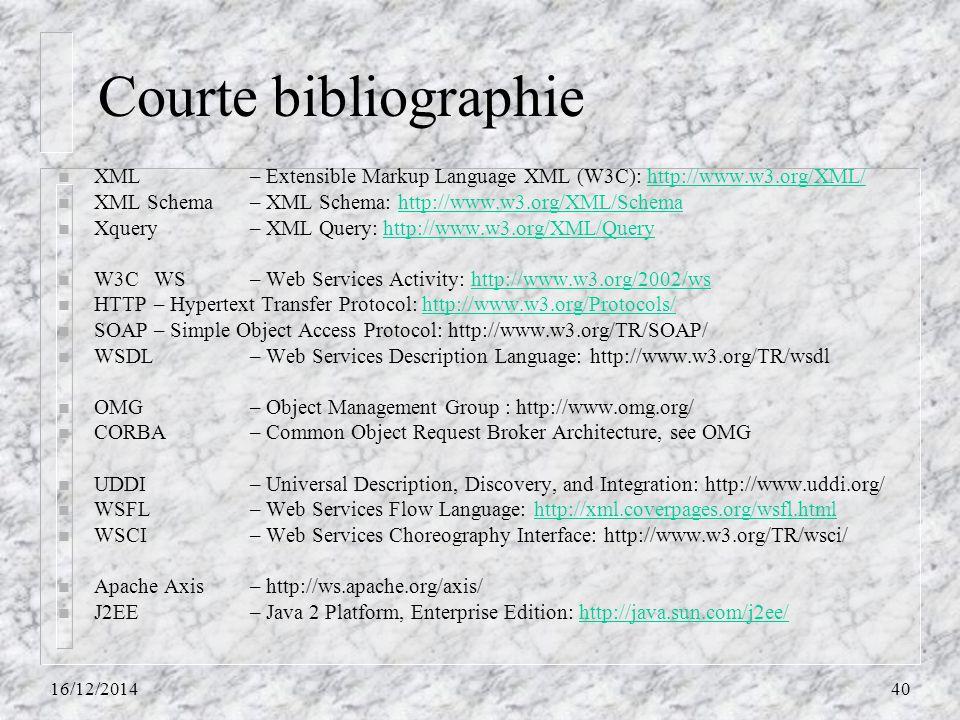 Courte bibliographie XML – Extensible Markup Language XML (W3C): http://www.w3.org/XML/ XML Schema – XML Schema: http://www.w3.org/XML/Schema.