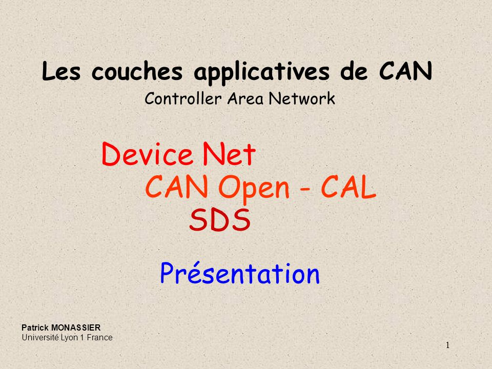 Device Net CAN Open - CAL SDS Présentation