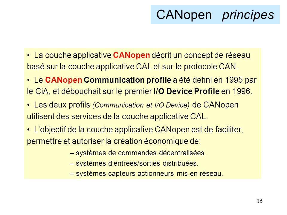 CANopen principes La couche applicative CANopen décrit un concept de réseau basé sur la couche applicative CAL et sur le protocole CAN.