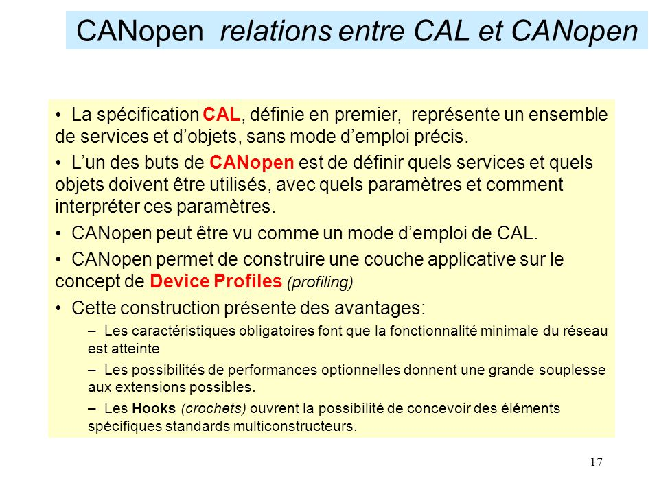 CANopen relations entre CAL et CANopen