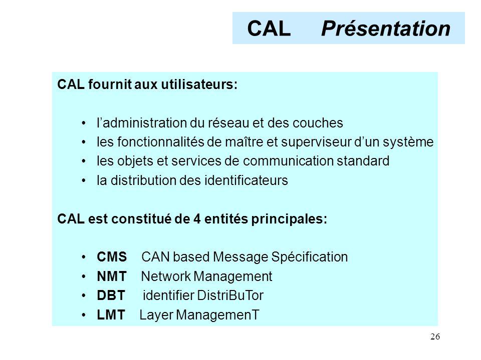 CAL Présentation CAL fournit aux utilisateurs: