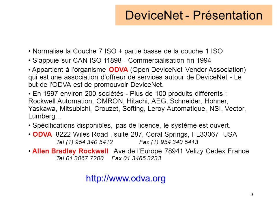 DeviceNet - Présentation