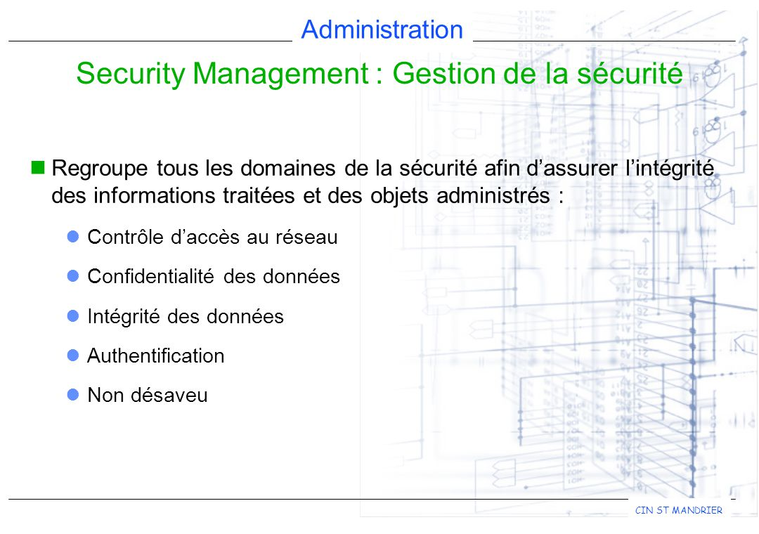Security Management : Gestion de la sécurité