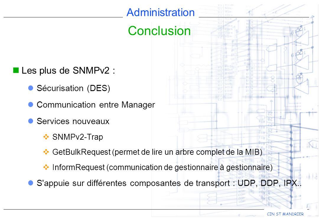 Conclusion Les plus de SNMPv2 : Sécurisation (DES)