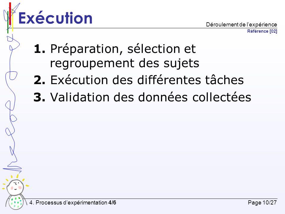 Exécution 1. Préparation, sélection et regroupement des sujets