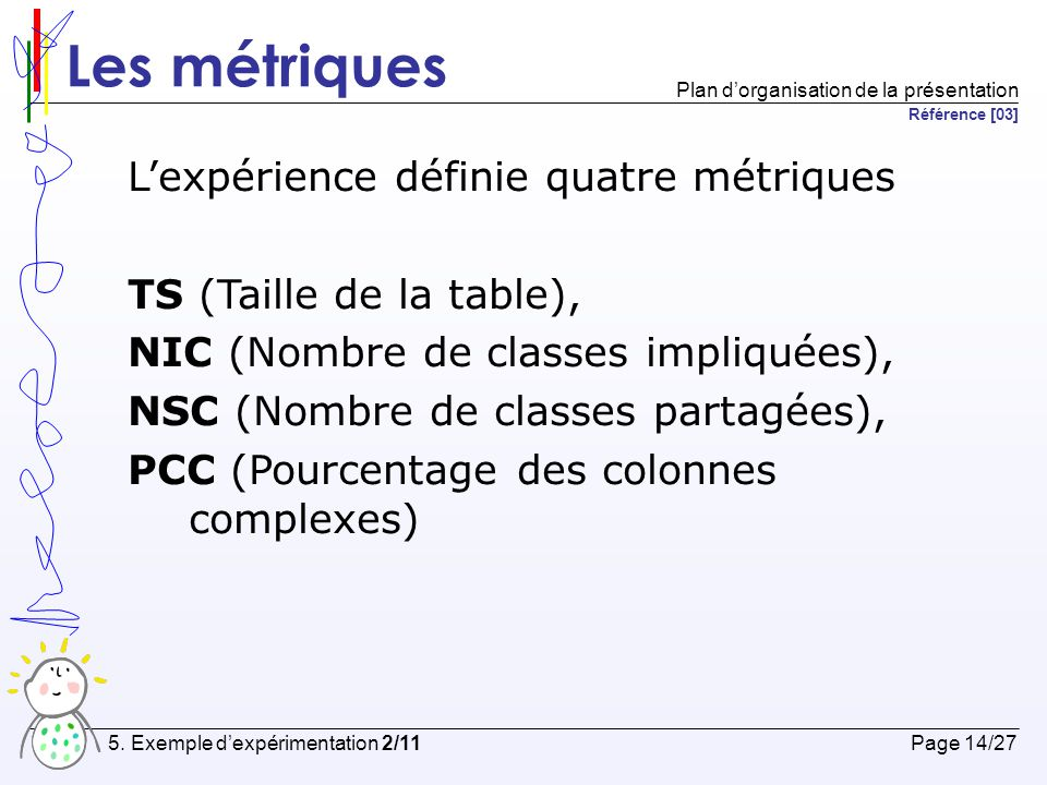 Les métriques L'expérience définie quatre métriques