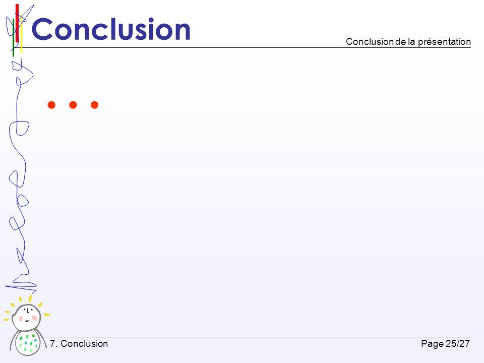 Conclusion Conclusion de la présentation … 7. Conclusion Page 25/27