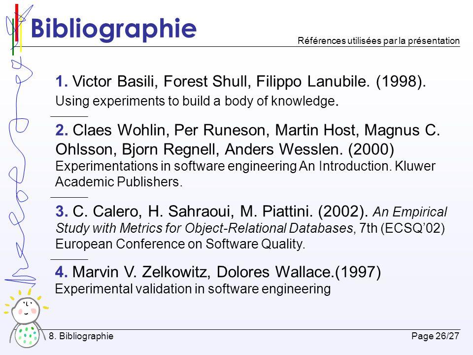 Bibliographie Références utilisées par la présentation.