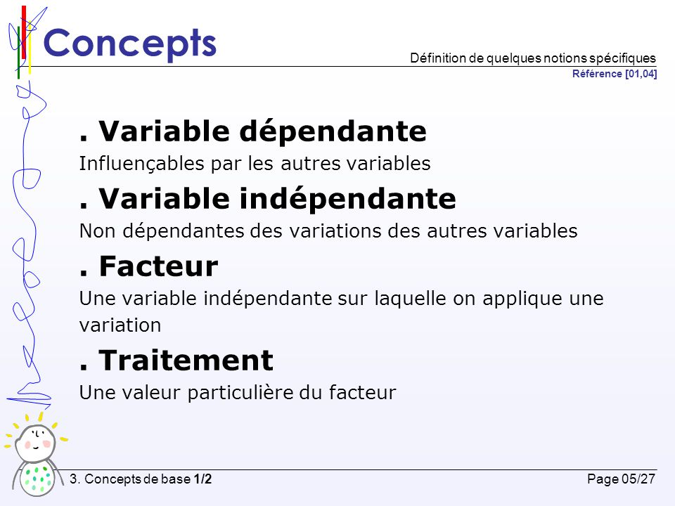 Concepts . Variable dépendante . Variable indépendante . Facteur