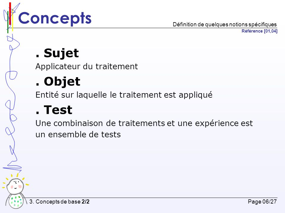 Concepts . Sujet . Objet . Test Applicateur du traitement