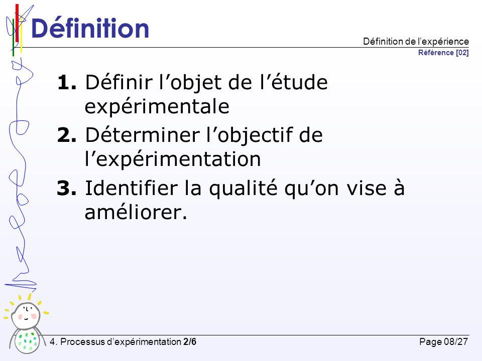 Définition 1. Définir l'objet de l'étude expérimentale
