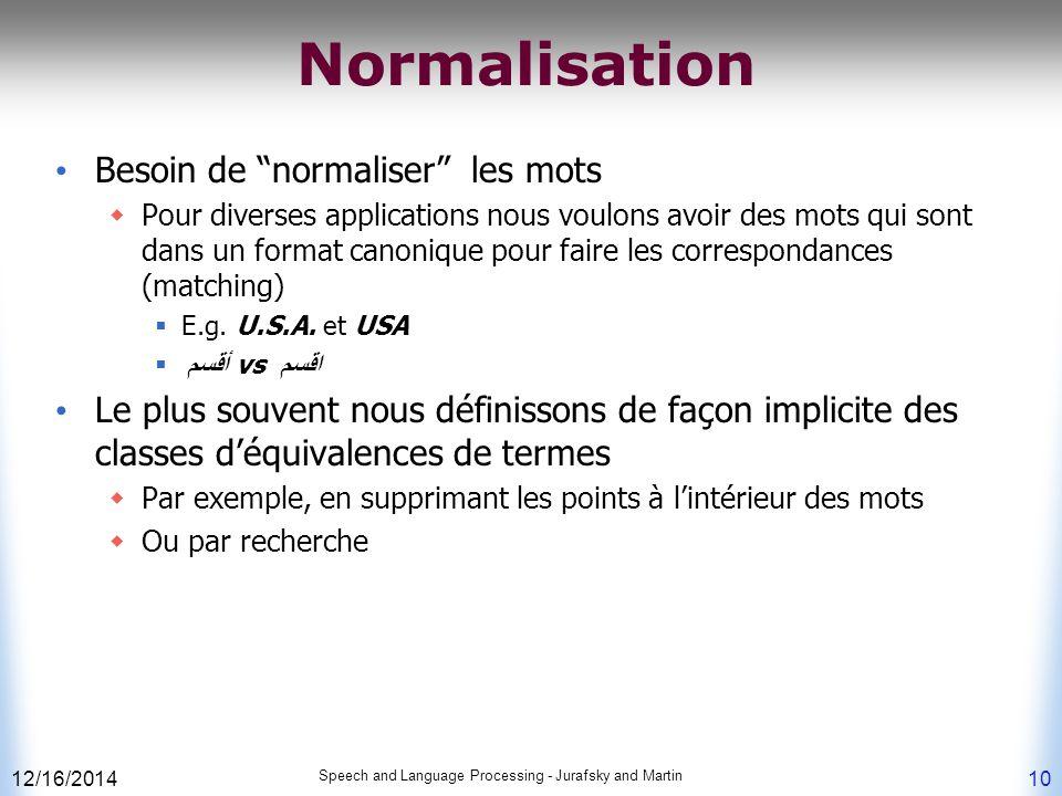 Normalisation Besoin de normaliser les mots