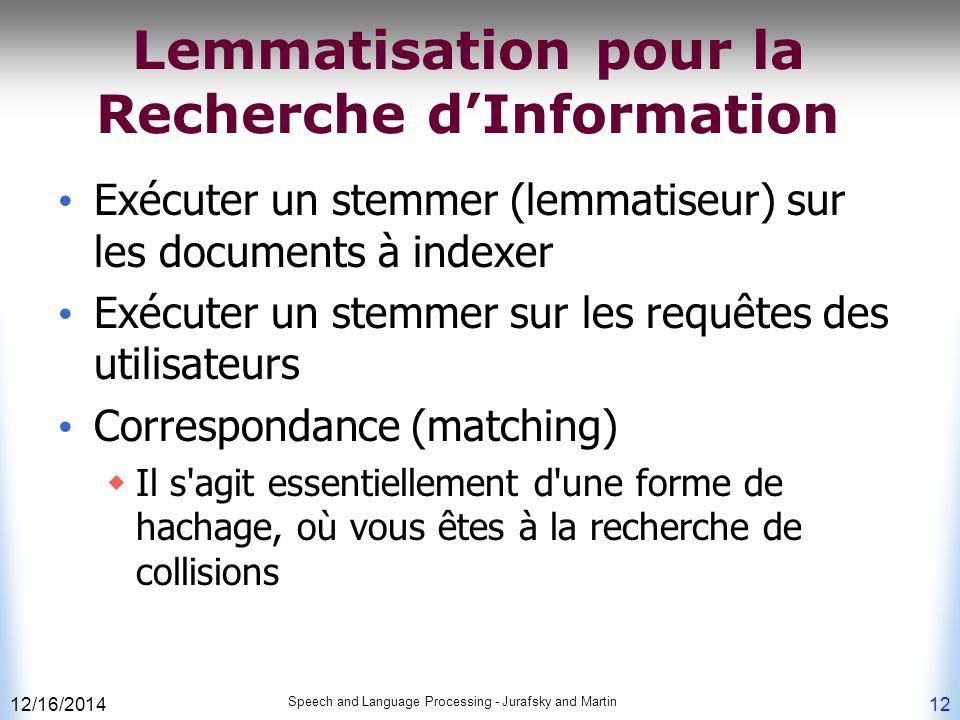 Lemmatisation pour la Recherche d'Information